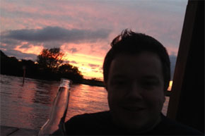 A beer, a boat and a sunset - what could be better?