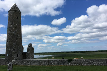 A round tower at Clonmacnoise