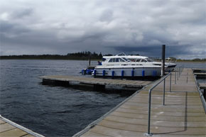 Panoramic view of boats moored.