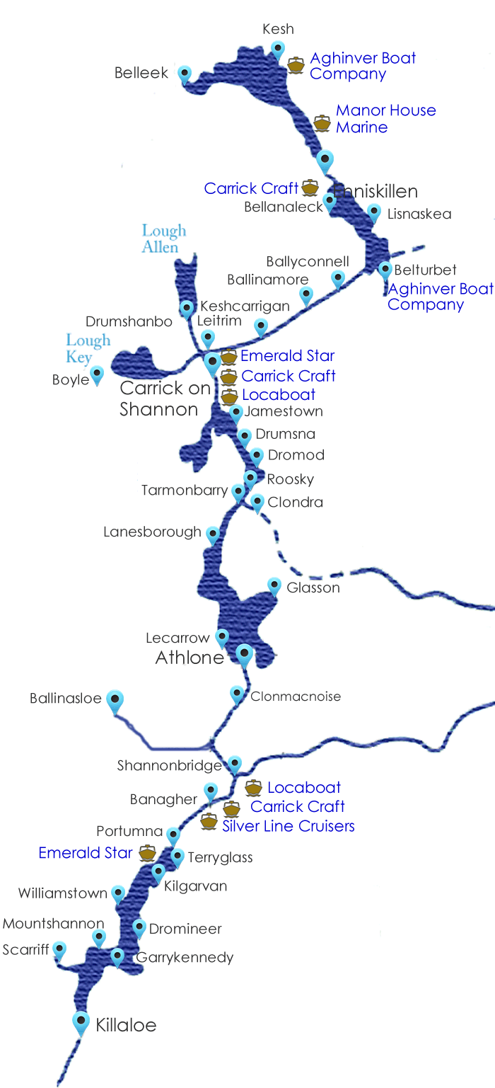 Map of shannon boat hire holiday destinations