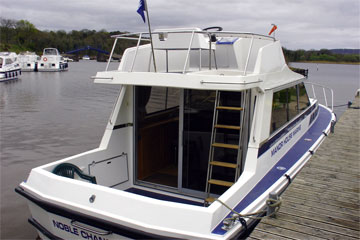 Rear Deck and Flybridge on the Noble Chancellor Hire Boat
