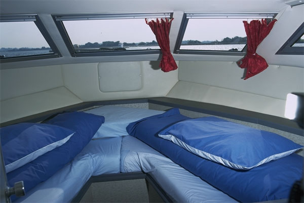 The front cabin on the Wave Earl Cruiser - Shannon River Boat hire Ireland.