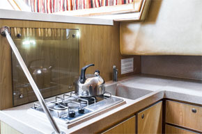 Galley and cooker on the P1020 Hire cruiser