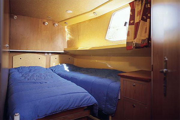 A sleeping cabin on the P1400 Penichette Hire Boat.