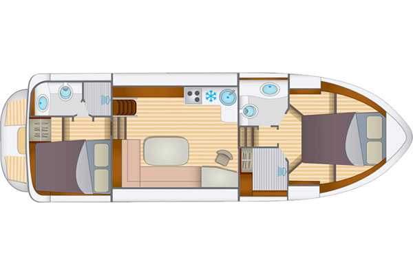 Layout of the Linssen 350 AC Hire Boat