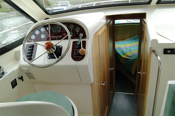 Helm and Front Cabin on the Magnifique Hire Boat