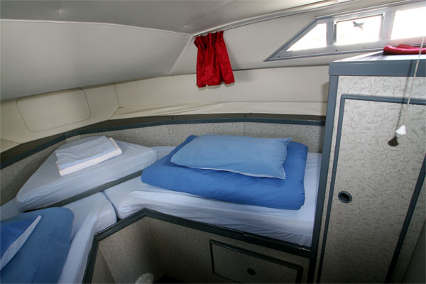 The Front Cabin on the Wave Princess Cruiser - Shannon River Boat hire Ireland.