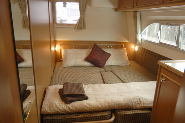 One of the sleeping Cabins on the Silver Spirit Cruiser - Shannon River Cruises Ireland.
