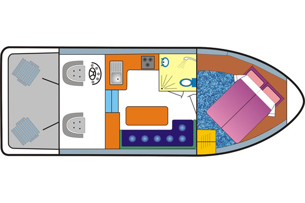 Interior Layout of the Tyrone Class Cruiser - Shannon River Cruising Ireland
