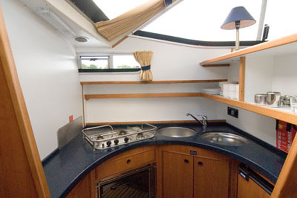 Galley on the Inver Princess Hire Cruiser in Ireland.